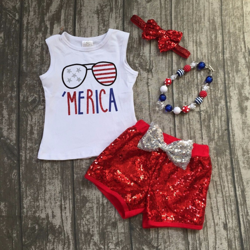 baby girls summer clothing children july 4th patriotic clothes kids