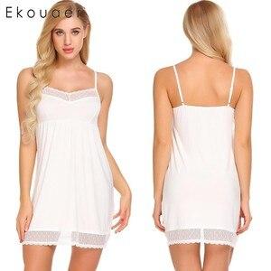 Image 5 - Ekouaer mujeres pijama con tirantes de encaje Camisón con cuello de V Trim camisón Chemise Slip ropa interior vestido de verano Sexy camisón para mujer