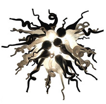 100% Mouth Blown Borosilicate Murano Glass Dale Chihuly Style Black and White Art Chandelier Lighting