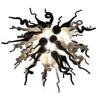 100% mund Geblasen Borosilikat Murano Glas Stil Schwarz und Weiß Glas Kunst Kronleuchter Beleuchtung
