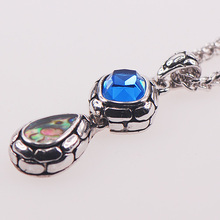 Blue Crystal Zircon Abalone Shell 925 Sterling Silver Jewelry  Pendant TE410