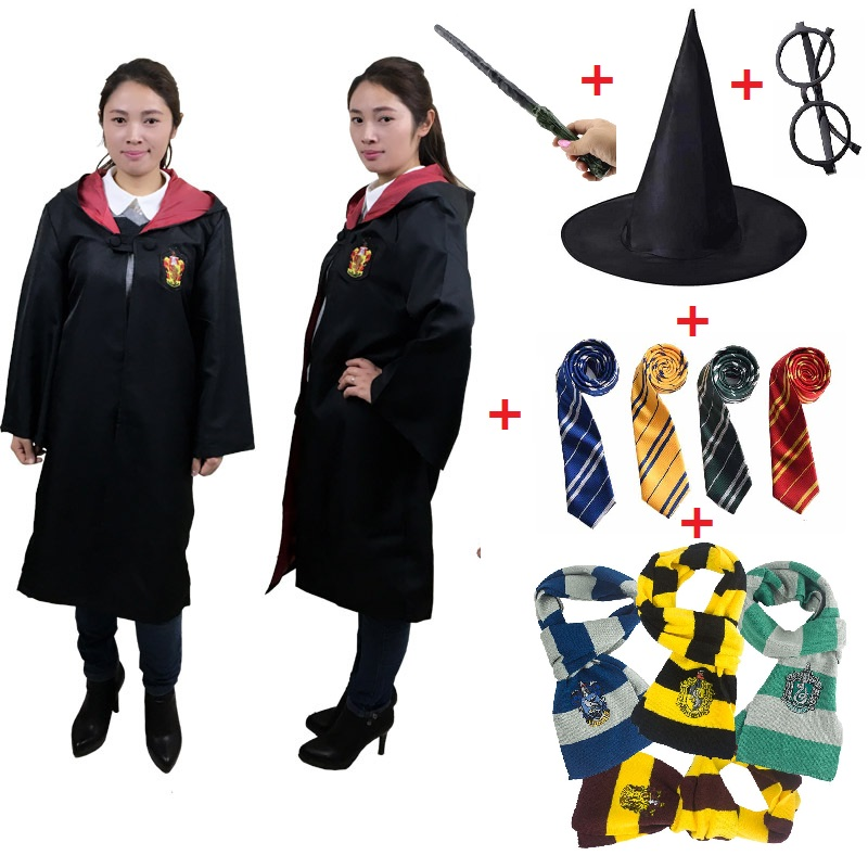 Harri Potter Cosplay Robe Cloak For Kids Adult Scarf Performance Costume Gryffindor Slytherin Hufflepuff Cosplay Costume