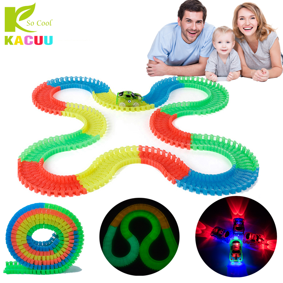 800/720/480/320PCS Magical Track 7.5CM Plastic Racing Track Assembled Glowing Race Track Car Toy Creative Toys For Children Gift