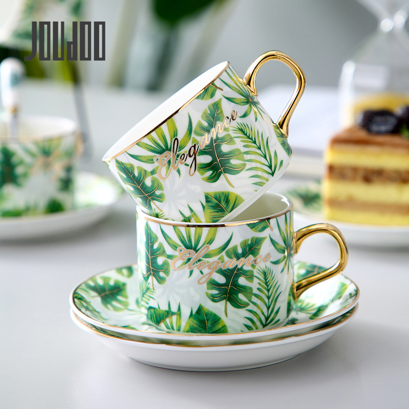JOUDOO Europe Ceramic Coffee Mugs Cup With Tray Phnom Penh Set Bone China Office Home Tea Mug wholesale TC0006 35