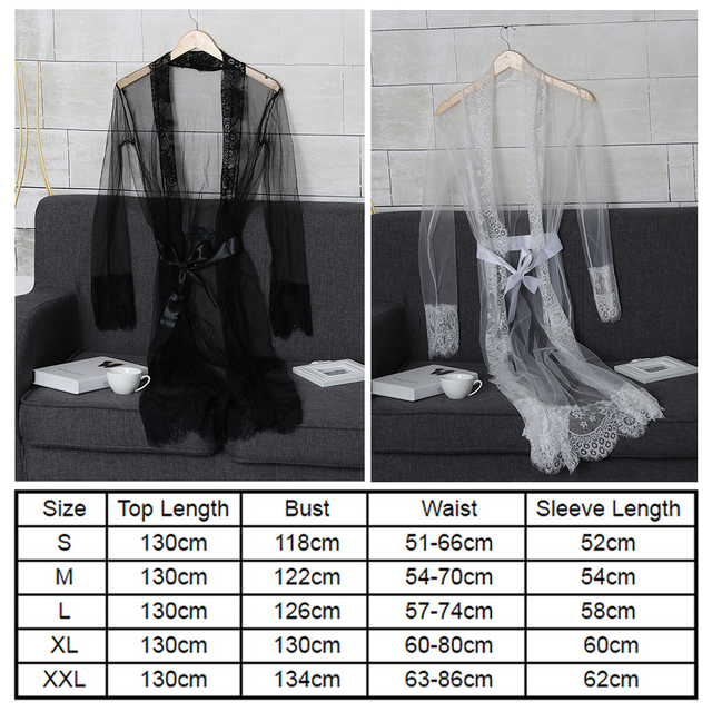 Newest Fashion Women Sexy Lace Robe Dress Breathable Lace G-string Dress Bathrobes Pajamas Sleepwear 5