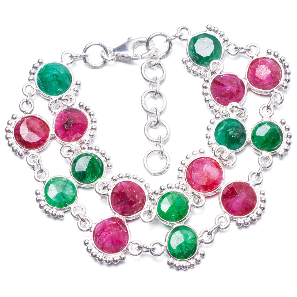 Natural Cherry Ruby and Emerald Handmade Unique 925 Sterling Silver Bracelet 6 3/4-7 3/4 Y1994 цена