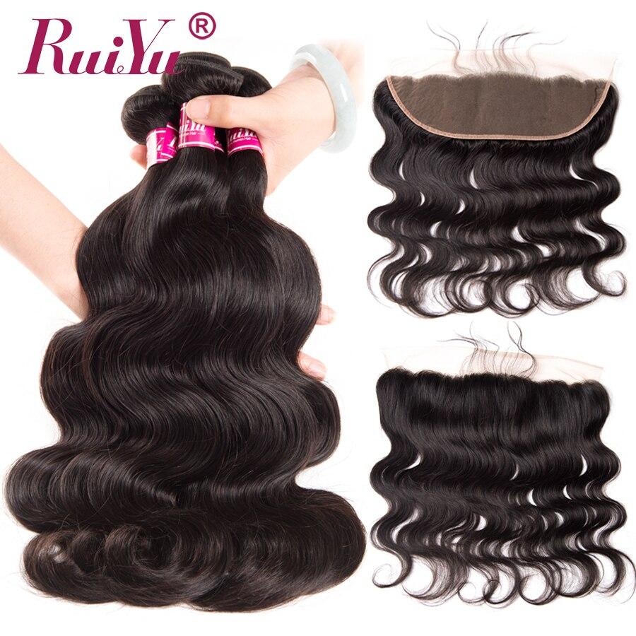 RUIYU Body Wave Bundles With Frontal Closure Non Remy Peruvian Human Hair Bundles With Closure 3
