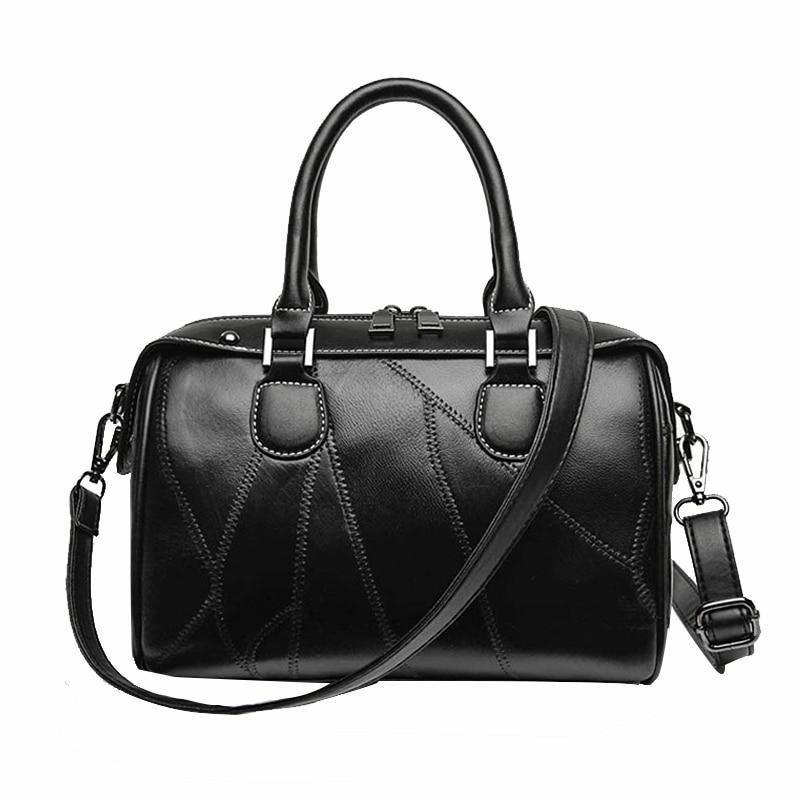 Womens Sheepskin Stitching Purses and Handbags Ladies Designer Black Leather Shoulder Bags