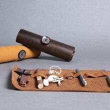 Hohe Qualität Organizer Echtes Leder-kasten Aufbewahrungstasche Kosmetiktasche aufbewahrungstasche USB Datenkabel Kopfhörer Draht Stift Reise Einsatz
