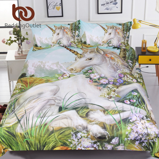 BeddingOutlet 3d Set di Biancheria Da Letto Unicorno Queen Formato Acquerello Le