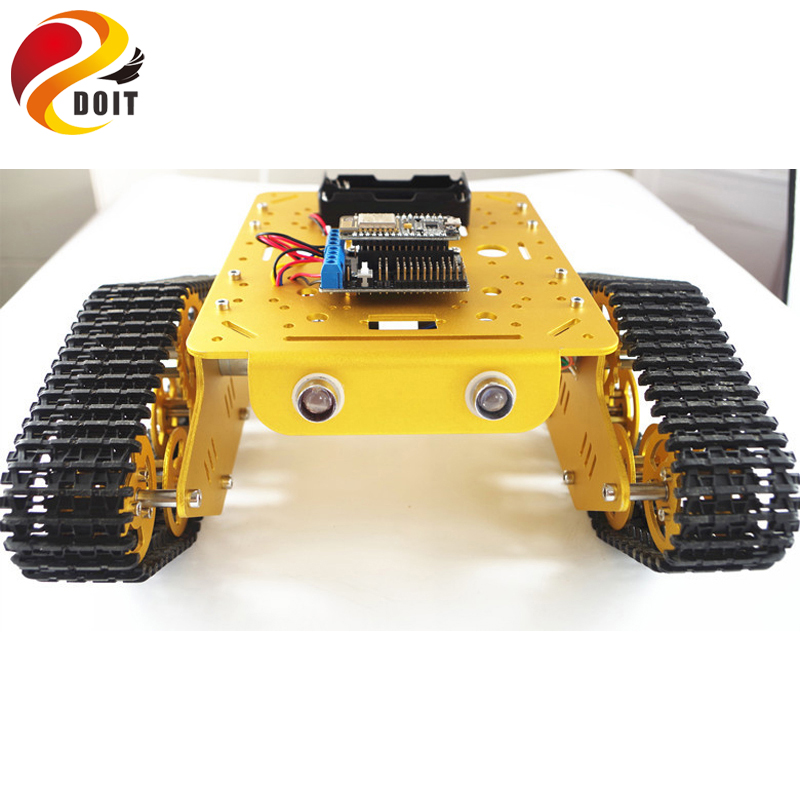 DOIT WiFi RC Metal Robot Tank Chassis T300 from NodeMCU Development Kit with L293D Motor Shield DIY RC Tank Toy by App Phone