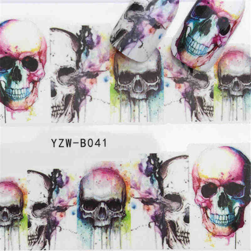 Skull Set Of Stickers For Nails Manicure Decoracion Water Decal Nail Art Tips For Design Water Slide Decal Stickers On Nails