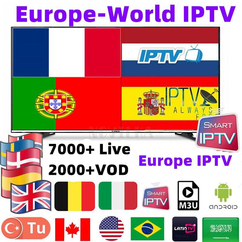 IPTV M3u Smarters For Smart Android tv box 7000+ French Arabic UK Germany  IPTV Subscription H265 m3u Enigmas2 Smart tv
