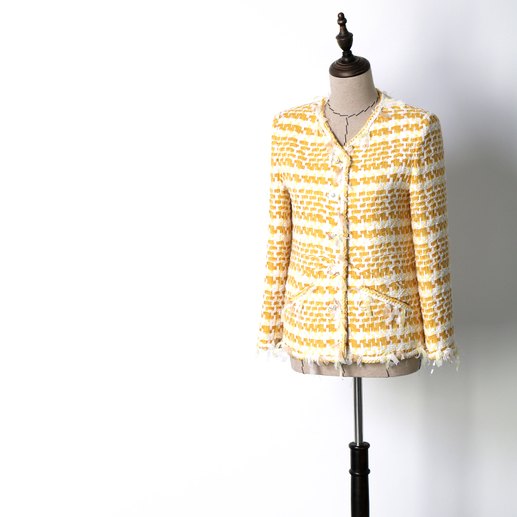 Primavera otoño mujer alta calidad tweed abrigo elegante amarillo plaid chaquetas A459