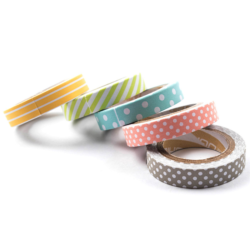 5 PCS/Set Color Paper Tapes Handmade DIY Decorative Washi Tape Colored Rainbow Masking Tape Stationery Kids Gift School Supplies