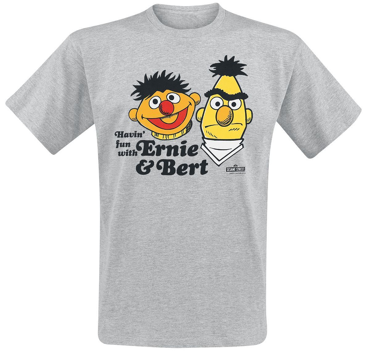 c4be4cc176fd0 Sesame Street Ernie   Bert T-Shirt mottled grey Cartoon t shirt men Unisex  New