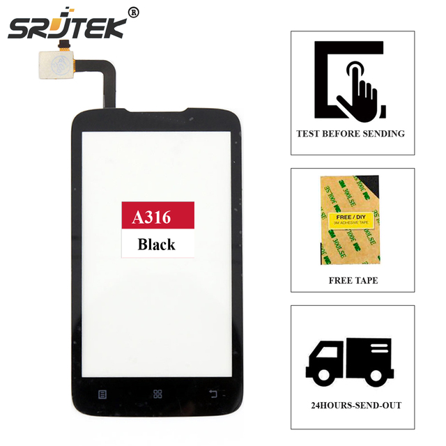Srjtek screen For Lenovo A316 A316i Touch Digitizer Sensor Outer Glass Outer Glass Replacement Parts 4.0 inch + Free Adhesive