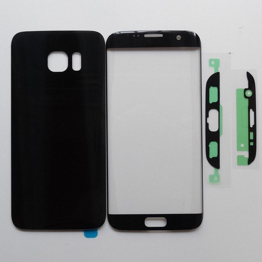 100% novo Para Samsung Galaxy S7 Borda G935 G935F Outer Lente Frontal Do Painel de Toque + Traseira de Vidro Da Porta Da Bateria de Volta Tampa da caixa + Adesivo
