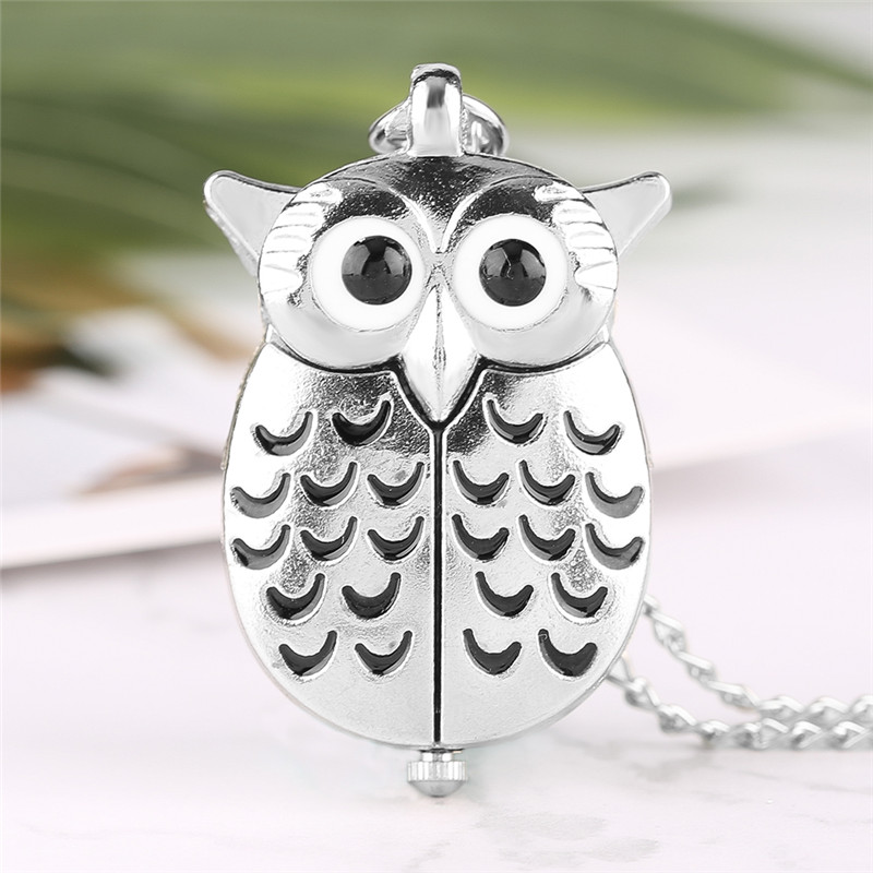 Cute Silver Vintage Night Owl Loverly Pendant Mini Small Quartz Pocket Watch Women Lady Girl Necklace Animal Clock Birthday Gift