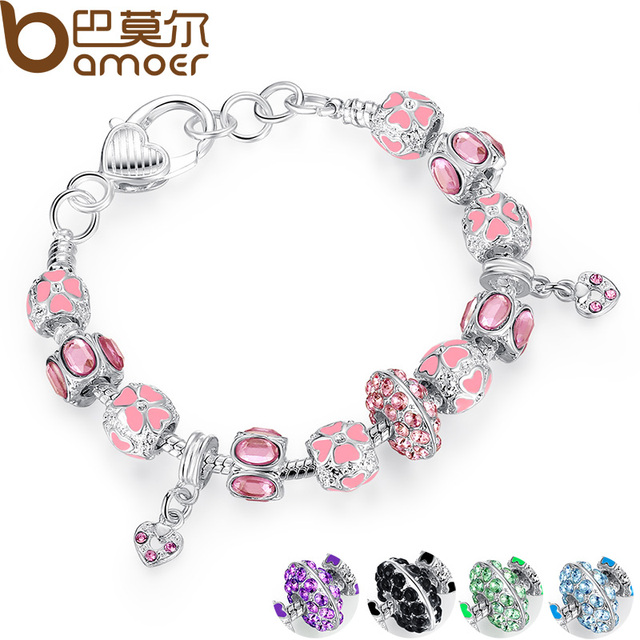 2017 NEW Winter Collection Silver Charm Bracelet for Women With Pink Crystal Murano Glass Beads PA1400