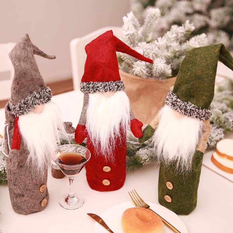 26cm גובה נורדי סנטה קלאוס גמד בובת יין בקבוק כיסוי מקרה חג המולד קישוטי לארוחת ערב מסיבת ערב חג המולד דקור