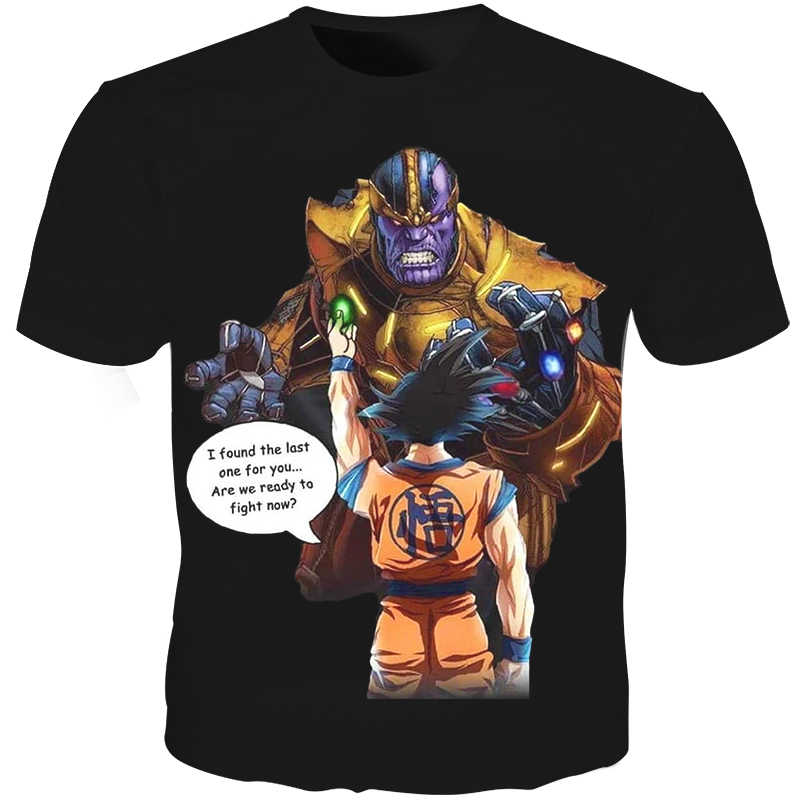 Cloudstyle 3D T-Shirt Da Uomo Thanos Dragon Ball Super Goku 3D Pieno Stampa Creativo Divertente Tee Shirt Estate Top Streetwear di Moda