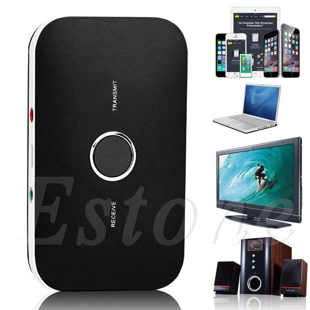 2en1 Bluetooth Wireless Transmisor y Receptor de Audio Estéreo de 3.5mm Adaptador De Reproductor