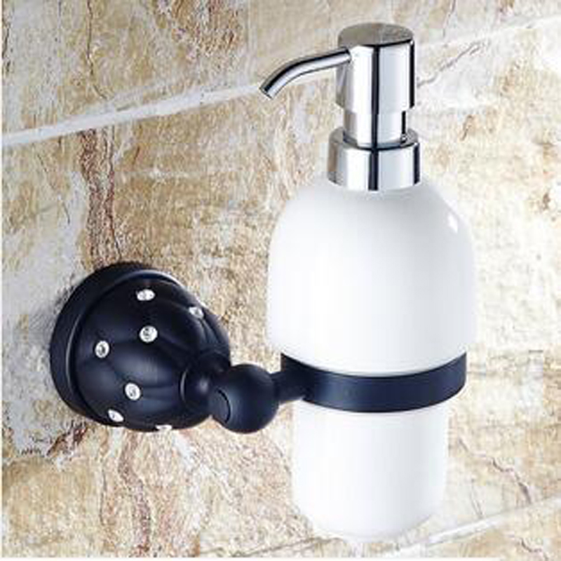 Wholesale And Retail Wall Mounted Oil Rubbed Bronze Crystal Liquid Shampoo/ Soap  Dispenser Bathroom Accessories