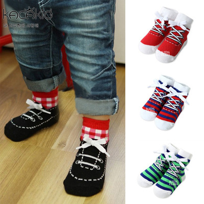 The new childrens cotton socks, anti-skid socks, girls boys and girls general 0-4 year old handsome tie lacing style