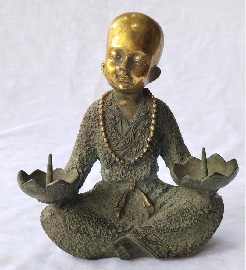Hauteur 17 CM/6.5 POUCES Antique collection chinois vieux bronze Moine Chandelier Pour la maison art décoration En Métal Artisanat Bougie statue