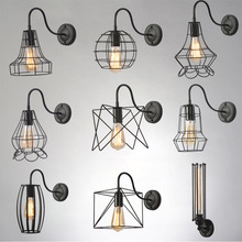 BOKT Retro Industrial Black Metal Wall Light Single 1-light Edison Vintage Rustic Cage Lampshade Sconce Loft Home Decor