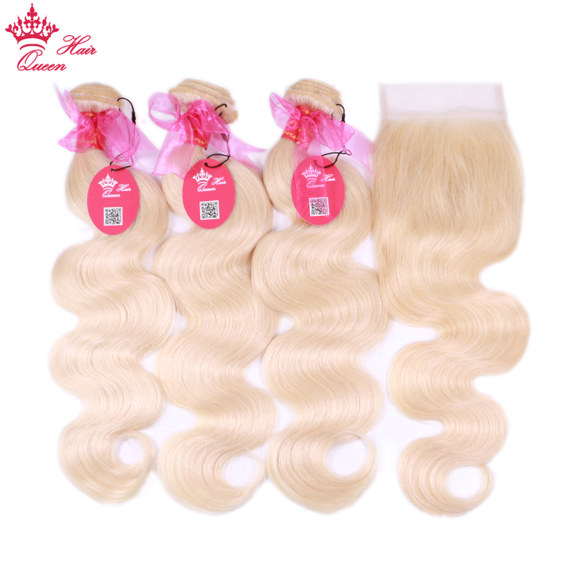 613 Blonde Body Wave Brazilian Human Hair Weave Bundles with Closure 3pcs Remy Hair and