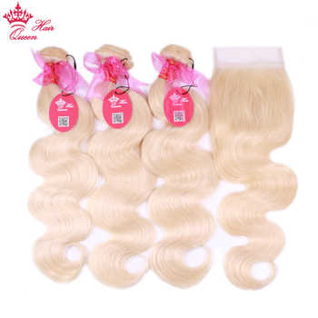 #613 Blonde Body Wave Brazilian Human Hair Weave Bundles with Closure, 3pcs Remy Hair and 1pc Lace Closure Queen Hair 4pcs/lot - DISCOUNT ITEM  48% OFF All Category