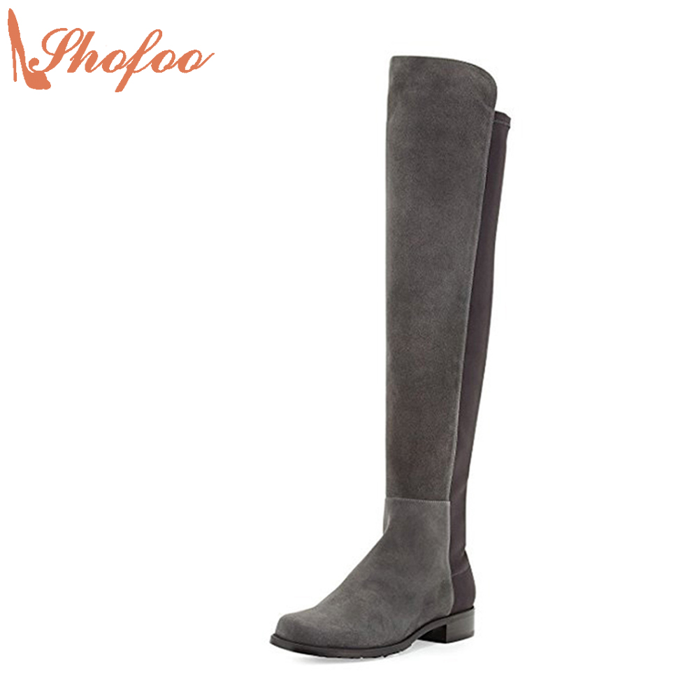 Shofoo Women Gray Round Toe Knee High Winter/Spring Boots Shoes Warm Woman Casual Med-Heels Botasy Botines De Mujer  shofoo newest women shoes med heels pointed toe pumps for woman dress