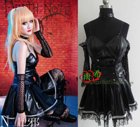 Death Note Misa Amane Black Dress Cosplay Costume Full Set Dress+neck band+gloves+belt
