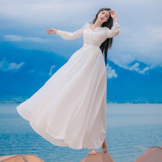 cc4d7c32e18d € 44.17  2016 Sprint y Otoño Chloris Blanco Manga Larga Gótica Victoriana  Encaje Vestido Largo Delgado Cuello En V Vestidos Casuales Trajes en ...