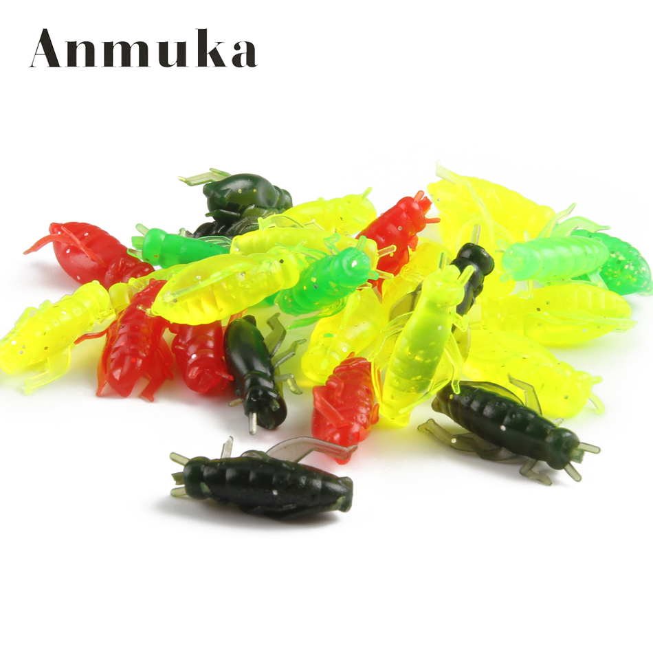 Anmuka 20Pcs/lot 0.6g 2cm Artificial Soft Fishing Lures Cricket Insect Bait Lifelike Fishing Lure Soft lure Baits Leurre Peche 20pcs lot 0 8g 2cm artificial simulation soft fishing lures pesca insect fishing lure iscas baits fishing tackle vc917 p12 0 5