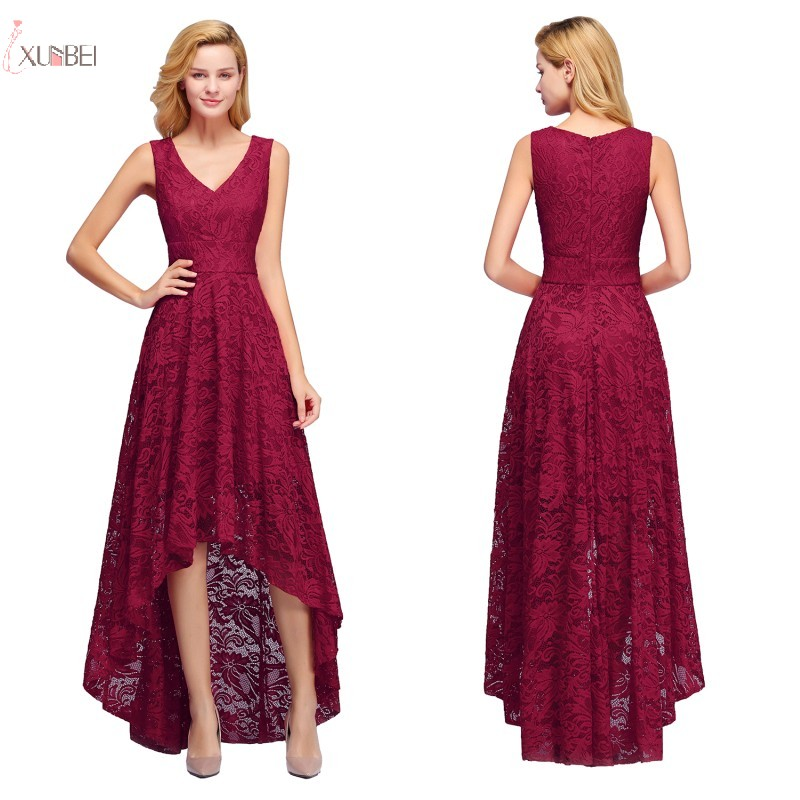 2019 Burgundy Lace Long   Bridesmaid     Dresses   V Neck High Low Sleeveless Wedding Party Gown
