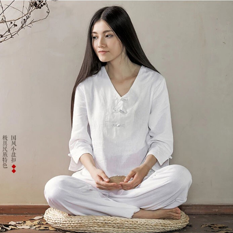 New high quality women's linen yoga clothes lay meditation suit Pyjamas clothes tai chi clothes cotton linen men s yoga suits long sleeved taiji lay clothes plus size breathable meditation martial arts performance clothing