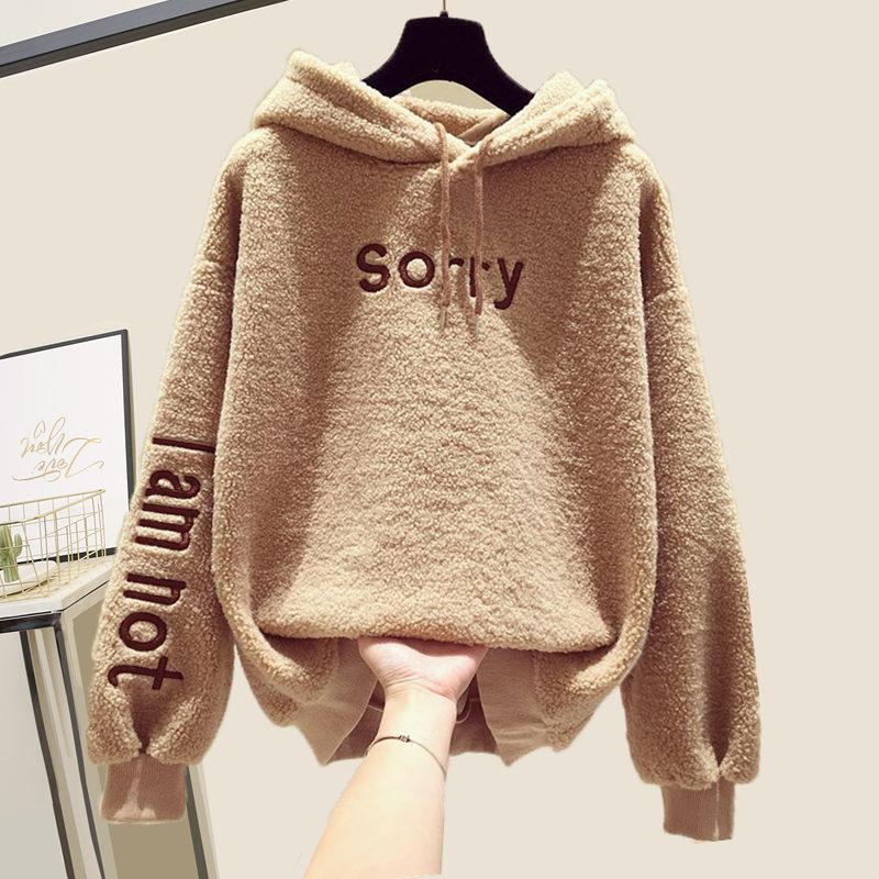 2019 Fall Winter Fleece Oh Yes Letter Harajuku Print Pullover Thick Loose Women Hoodies Sweatshirts Female Moletom Feminino 2XL