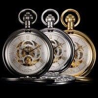 KS Luxury Skeleton Antique Hand Winding Roman Numerals Mechanical Analog Fob Chain Jewelry Pocket Watch /KSP009 011
