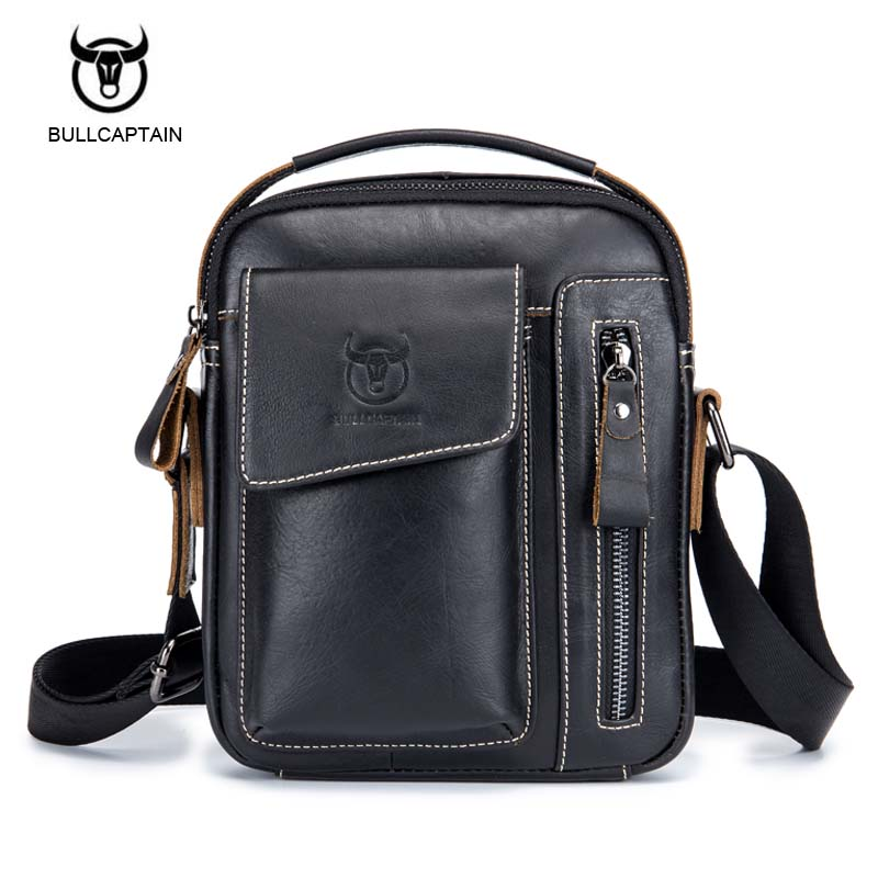 BULLCAPTAIN Famous Brand Genuine Cow Leather Men Bag Casual Business Mens Messenger Bag Vintage Men's Crossbody Bag Bolsas Male