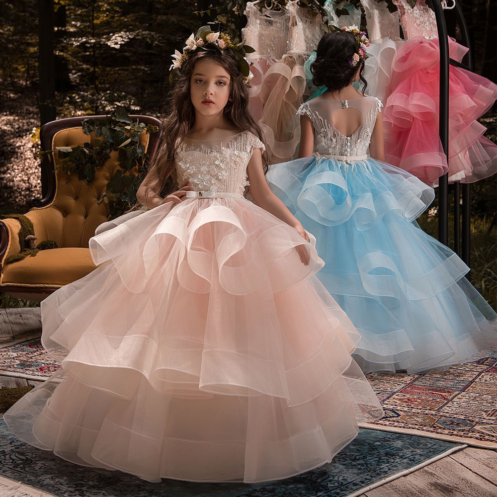 Pink 2019   Flower     Girl     Dresses   For Weddings Ball Gown Cap Sleeves Tulle Beaded Baby Long First Communion   Dresses   For Little   Girls