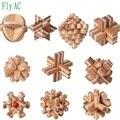 10 шт./компл.  большой размер  дизайн IQ Brain Teaser Kong Ming Lock  3D деревянные блокирующие бамбуковые пазлы  игровая игрушка для взрослых детей