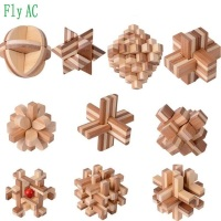 10 pcs/set 3D handmade vintage Ming lock Luban lock Educational Bamboo Wooden toys adults puzzle children Birthday gift