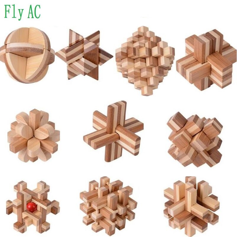 10 pcs set 3D handmade vintage Ming lock Luban lock Educational Bamboo Wooden toys adults puzzle