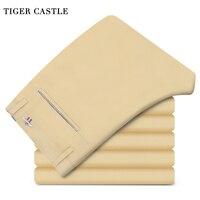 TIGER CASTLE Men Khaki Skinny Spring Autumn Trousers Elastic Quality Male Button Pants Fashion Business Work
