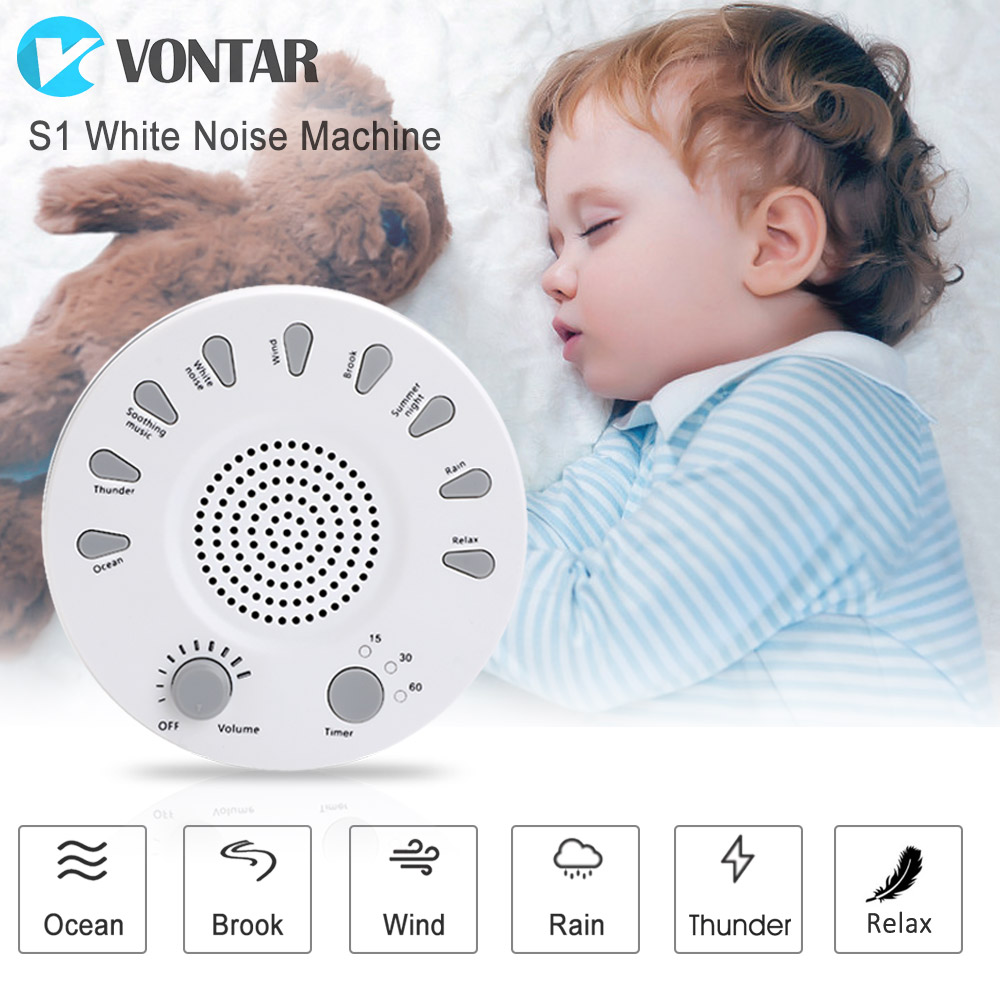 VONTAR M1 White Noise machine Sleep Therapy Regulator Natural for Baby sleep snore with USB PORT Adapter baby therapy sound machine white noise portable sleep soother machine record voice sensor soothing music sleep therapy regulator