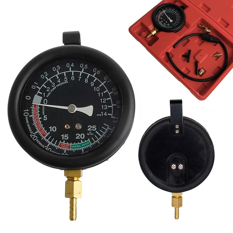1 set Fuel Pressure Test Fuel Pump Vacuum Tester Gauge Leak Carburetor Pressure Diagnostics w Case
