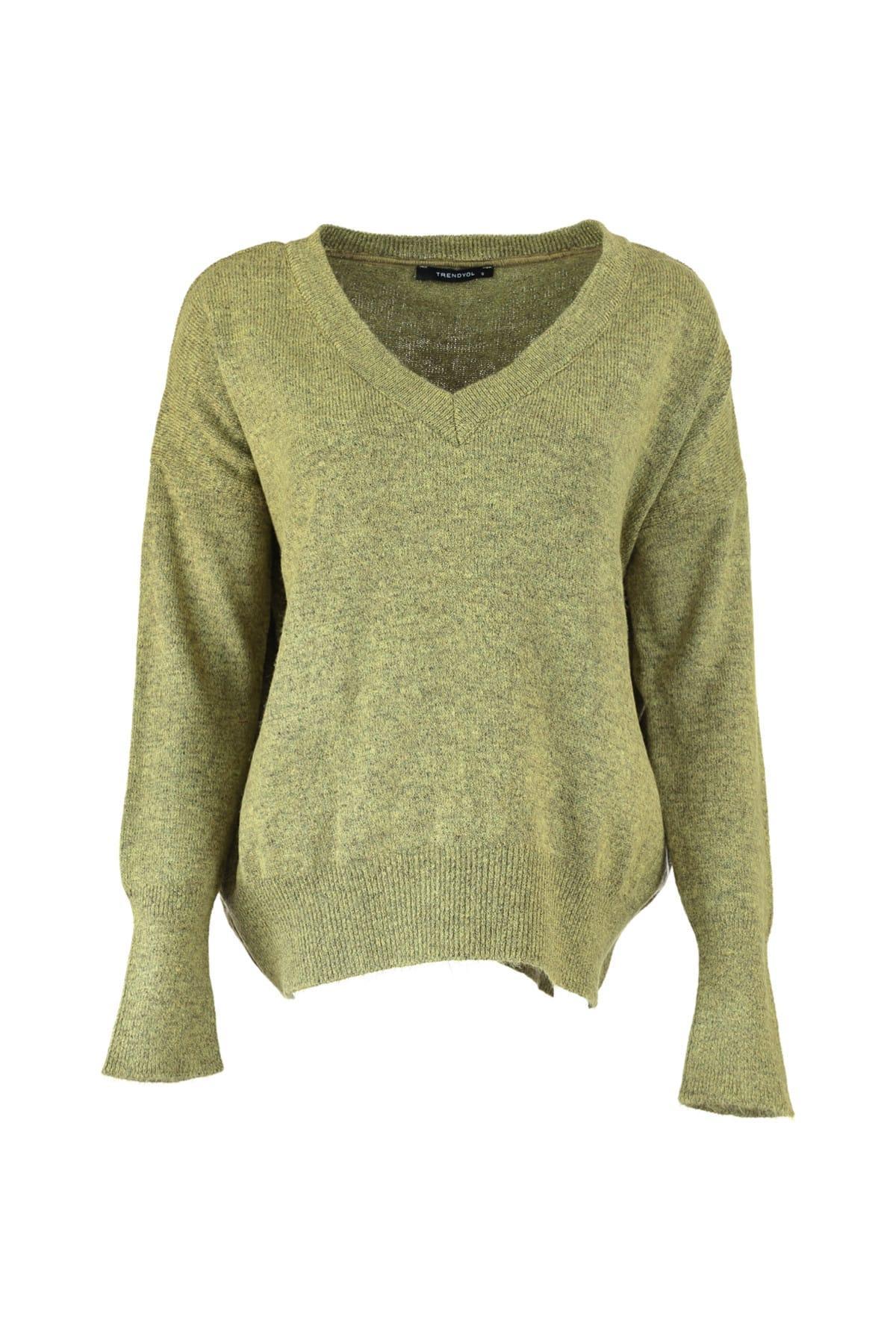Trendyol WOMEN-Khaki V-Neck Knitwear Sweater TWOAW20ZA0004